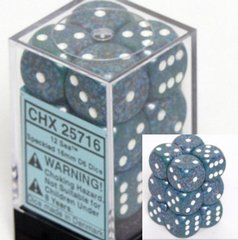 12 Sea Speckled 16mm D6 Dice Block - CHX25716
