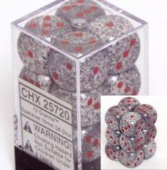 CHX 25720 - 12 Granite Speckled 16mm d6 Dice