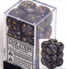 CHX 27698 - 12 Black w/ Gold Lustrous 16mm d6 Dice