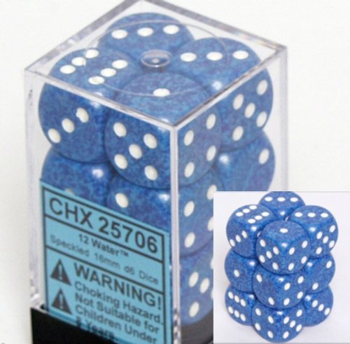 12 Water Speckled 16mm D6 Dice Block - CHX25706