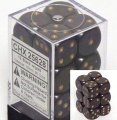 CHX 25628 Black w/Gold Dice Block (12 Opaque 16mm Pipped d6 Dice)