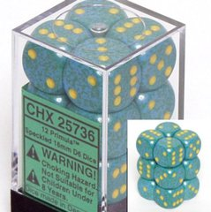 12 Primula Speckled 16mm D6 Dice Block - CHX25736