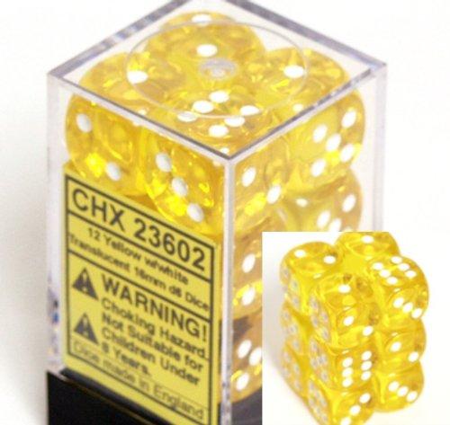12 Yellow w/white Translucent 16mm D6 Dice Block - CHX23602