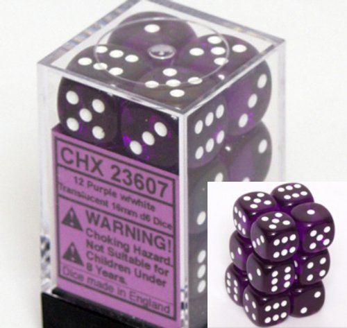 12 Purple w/white Translucent 16mm D6 Dice Block - CHX23607