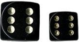 Black/Gold Opaque d6 w/spots 16mm - DQ1628