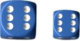 Lt. Blue/White Opaque d6 w/spots 16mm - DQ1616