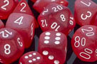 Frosted Polyhedral Red/white d8 - PF0804