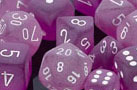 Frosted Polyhedral Purple/white d4 - PF0407