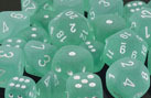 Frosted Polyhedral Teal/white d4 - PF0425