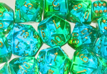 12mm d6 w/pips Translucent Green-Teal w/gold - DG1238