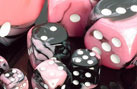 16mm d6 w/pips Black-Pink w/white - DG1630