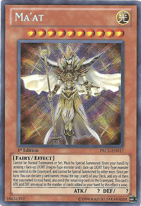Ma'at - PRC1-EN017 - Secret Rare - 1st Edition - Promo
