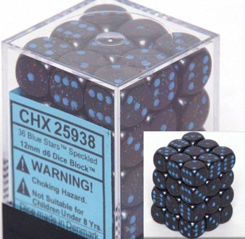 36 Blue Stars Speckled 12mm D6 Dice Block - CHX25938