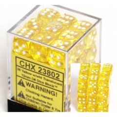 36 Yellow w/wht Translucent 12mm D6 Dice Block - CHX23802