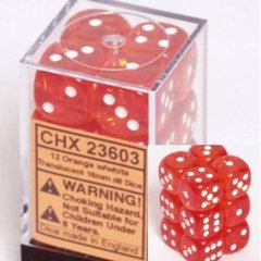 12 Orange w/white Translucent 16mm D6 Dice Block - CHX23603