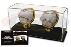Deluxe Acrylic Double Gold Glove Baseball Display - Acrylic Base