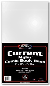 BCW Current Comic MYLAR Bags 2 Mil - 7 x 10 1/2 - Pack of 50