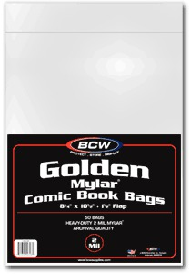 BCW Golden Comic MYLAR Bags 2 Mil - 8 x 10 1/2 - Pack of 50