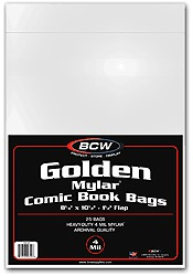 BCW Golden Comic MYLAR Bags 4 Mil - 8 1/4 x 10 1/2 - Pack of 25