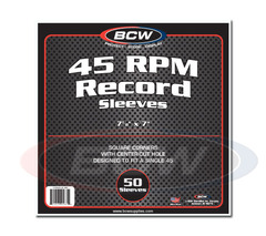 BCW Paper Record Sleeves: 45-RPM - Square Corners - With Hole - Pack of 50