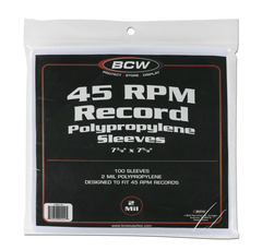 BCW 45 RPM Record Sleeves - 7 3/8 X 7 5/8 - Pack of 100