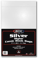 BCW Silver Comic MYLAR Bags 2 Mil - 7 1/4 x 10 1/2 - Pack of 50