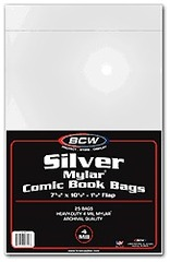 BCW Silver Comic MYLAR Bags 4 Mil - 7 1/2 x 10 1/2 - Pack of 25