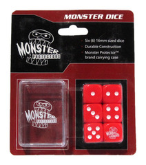 Monster Protectors - 6x D6 Monster Dice & Carrying Case - Red