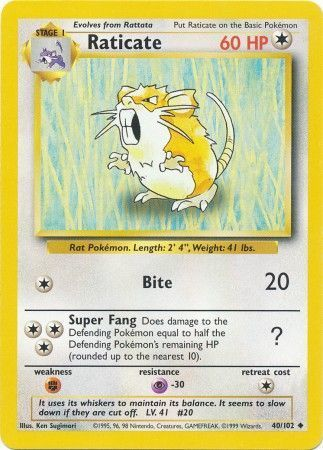 Raticate - 40/102 - Uncommon - Unlimited Edition