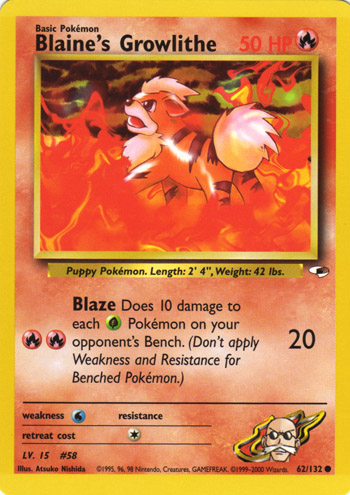 Blaines Growlithe - 62/132 - Common - Unlimited Edition